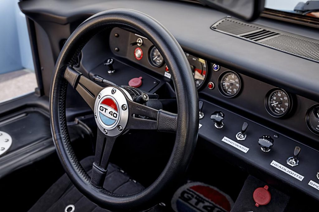 alternate-angle view of instrument panel of Gulf Blue Superformance Ford GT40 Mk1 for sale, P2141