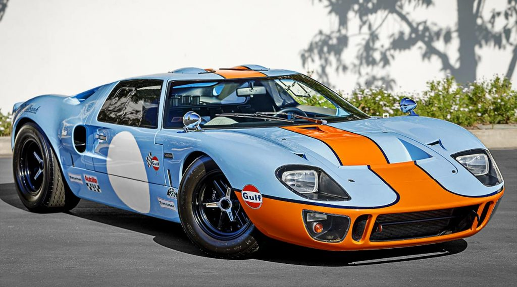 alternate view (passenger-side) 3/4-frontal image of Gulf Blue Superformance Ford GT40 Mk1 for sale, P2141