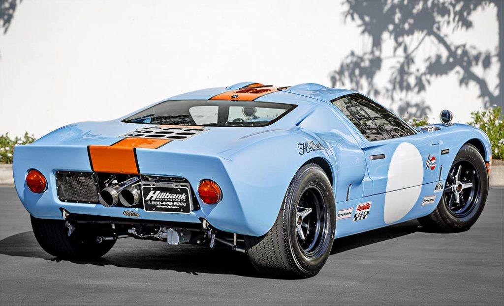 passenger-side 3/4-rear image of Gulf Blue Superformance Ford GT40 Mk1 for sale, P2141