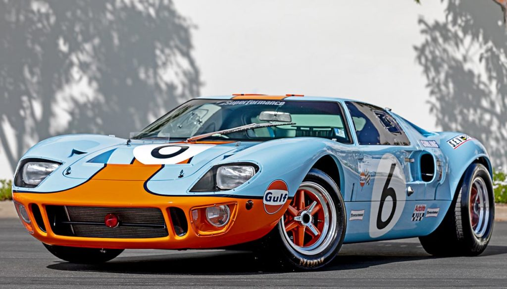 3/4-frontal view of Gulf Blue Superformance GT40 Mk1 for sale, P2212