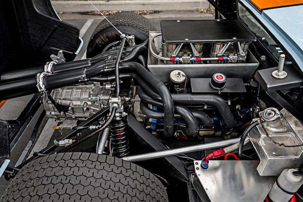 302cid small-block engine shot#1 (passenger side) of Gulf Blue Superformance GT40 Mk1 for sale, P2212
