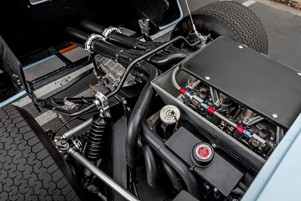 302cid engine shot#2 (passenger side) of Gulf Blue Superformance GT40 Mk1 for sale, P2212