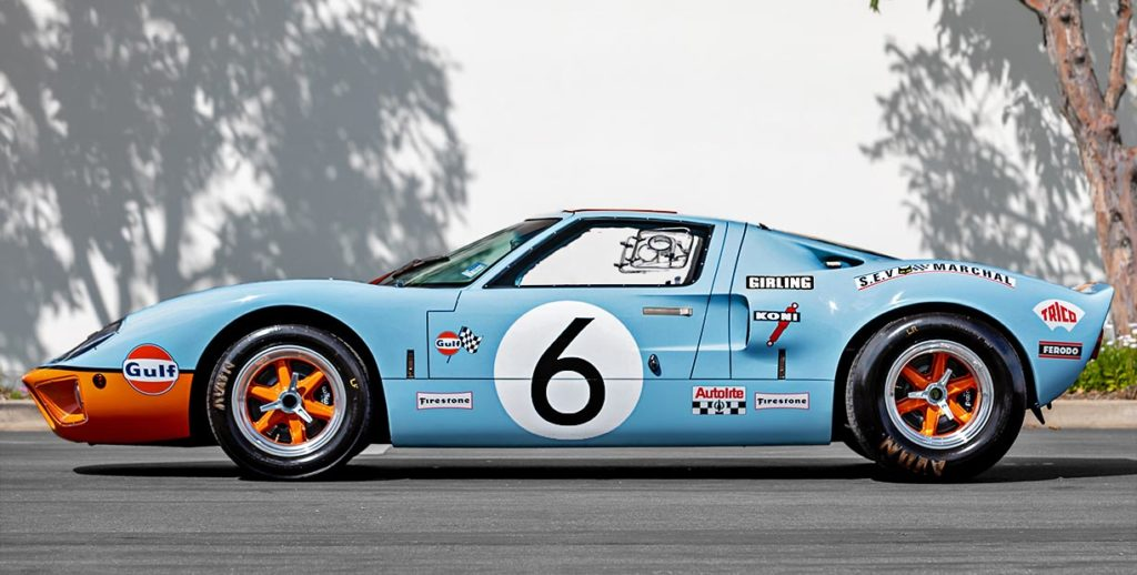 broadside shot (LHS) of Gulf Blue Superformance GT40 Mk1 for sale, P2212