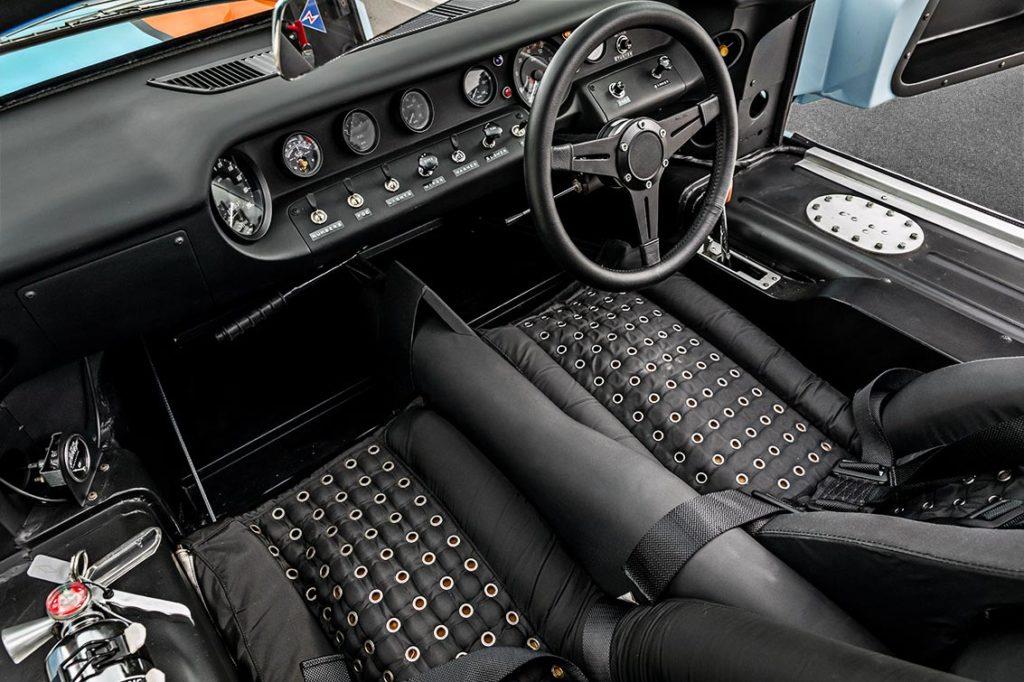 cockpit shot (LHS) of Gulf Blue Superformance GT40 Mk1 for sale, P2212
