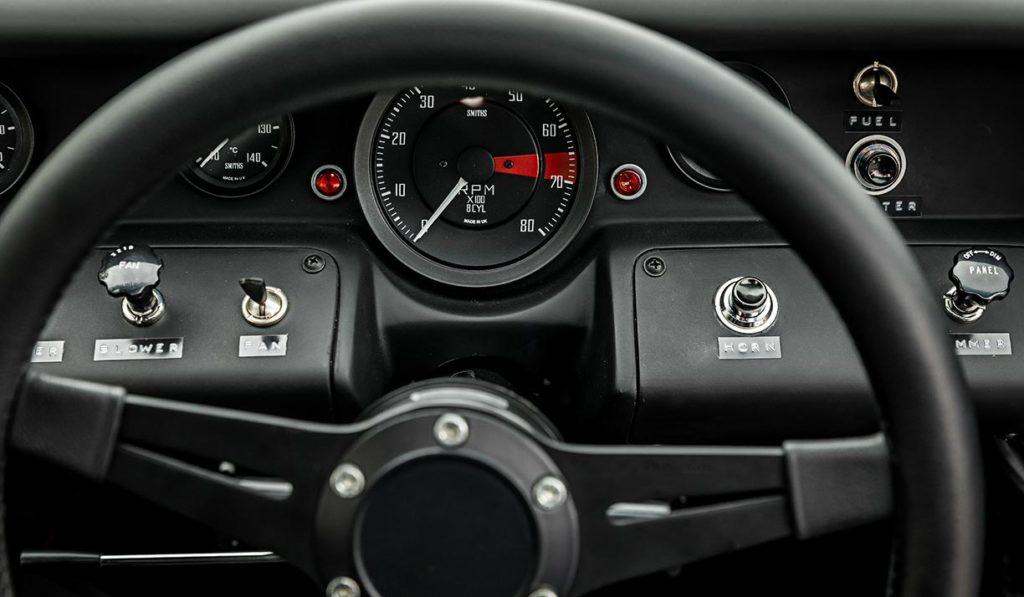steering wheel & dash shot of Gulf Blue Superformance GT40 Mk1 for sale, P2212