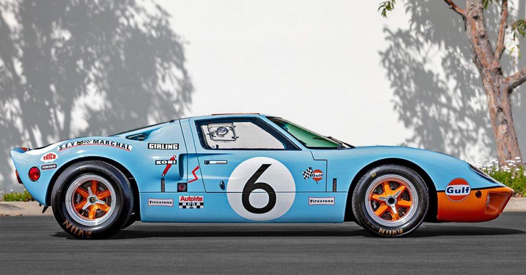 broadside shot (RHS) of Gulf Blue Superformance GT40 Mk1 for sale, P2212