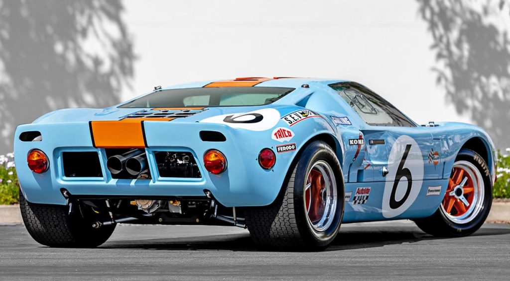 3/4-rear view (RHS) of Gulf Blue Superformance GT40 Mk1 for sale, P2212