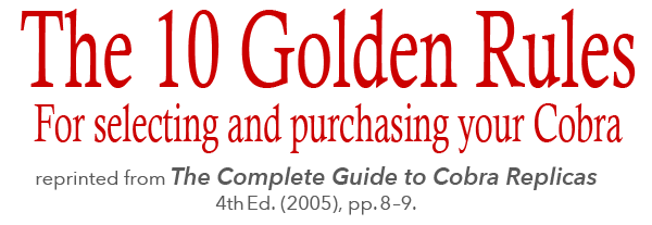 "masthead for Curt Scott's ""The 10 Golden Rules for Selecting and Purchasing your Cobra"""